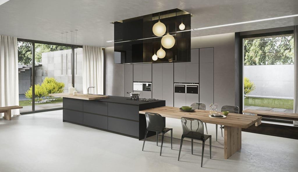 Cuisine design, ilot central noir, Arrital Lyon
