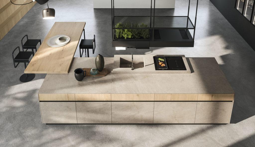 Cuisine design modulable en bois clair, Arrital Lyon